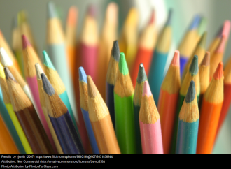 "This is an image of colored pencils, signifying the ""teaching"" category."