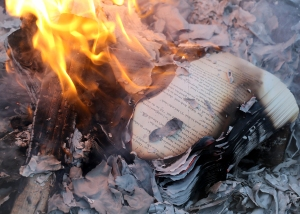 Image of book on fire