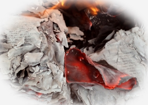 Image of paper burning red