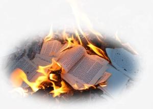 image of burning books